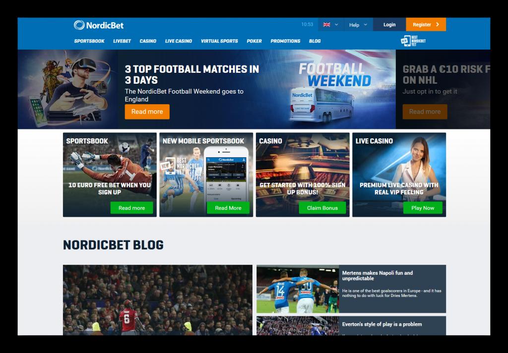 Nordicbet - букмекерская контора: главная страница